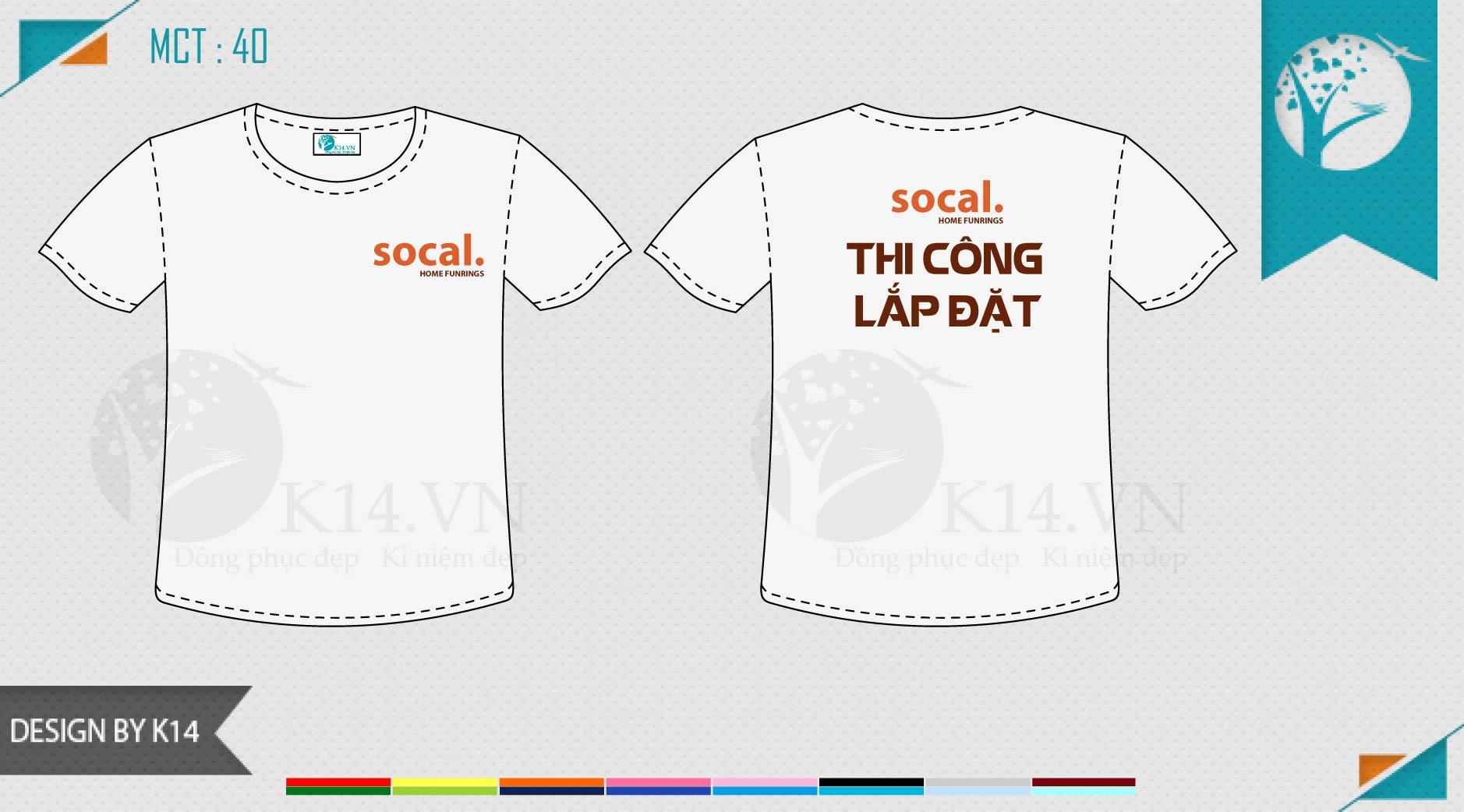 Mẫu áo đồng phục công ty Thi công lắp đặt Socal